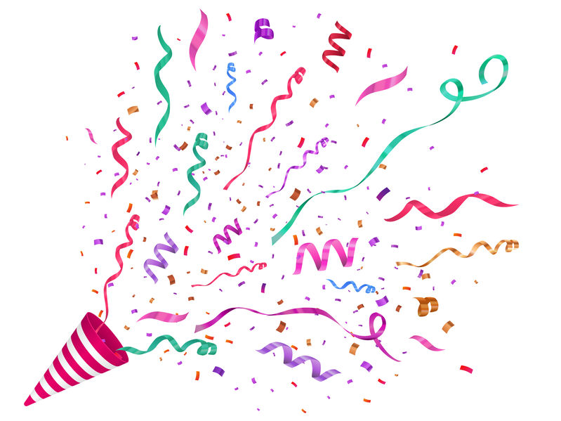 Vector confetti illustration. Festive illustration. Party popper isolated on white background.